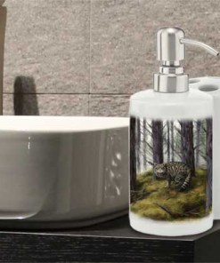 Highland Collection - Bathroom Set Toothbrush Holder and Soap Dispenser (Wild Cat) Personalised Gift