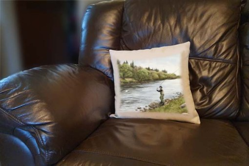 Highland Collection - Linen Style Cushion (Fly Fishing) Personalised Gift