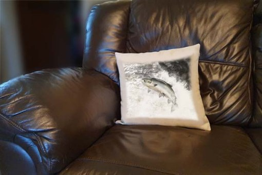 Highland Collection - Linen Style Cushion (Leaping Salmon) Personalised Gift
