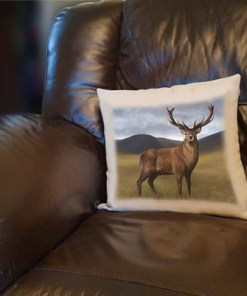 Highland Collection - Linen Style Cushion (Stag) Personalised Gift