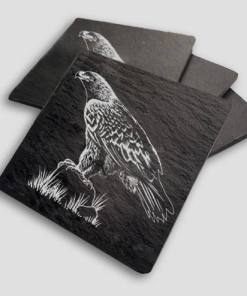 Slate Coaster Box Set Personalised Gift - Eagle Personalise Customise Custom Scotland Scottish Design