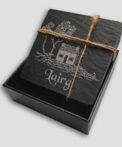 Slate Coaster Box Set Personalised Gift - Highland Lairg Wee Hoose Personalise Customise Custom Scotland Scottish Design