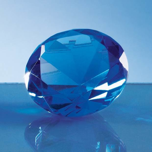 "Engraved Blue ""Diamond"" Paperweight"