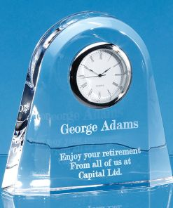 Personalised Engraved Desk Clock Home Glass Crystal Scotland UK Custom Customised Gifts Gift Kids Home