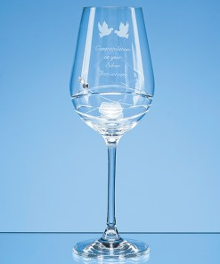 Personalised Engraved Diamante Wine Glass (Modena) Crystal Scotland UK