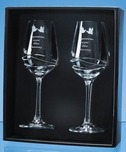 Personalised Engraved Diamante Pair of Wine Glasses (Modena) Scotland UK Custom Customised Gift Gifts Scottish