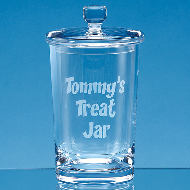 Personalised Engraved Handmade Biscuit Cookie Jar Glass Crystal Scotland UK Custom Customised Gifts Gift Kids Home