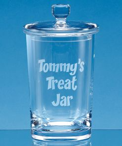 Personalised Engraved Handmade Biscuit Cookie Jar Glass Crystal Scotland UK Custom Customised Gifts Gift Kids Home