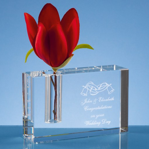 Personalised Engraved Modern Rectangle Rectangular Bud Vase Optical Crystal Scotland UK Custom Customised Gift Gifts Scottish