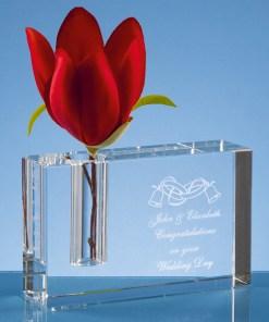 Personalised Engraved Modern Rectangle Rectangular Bud Vase Optical Crystal Scotland UK Custom Customised Gift Gifts Scottish