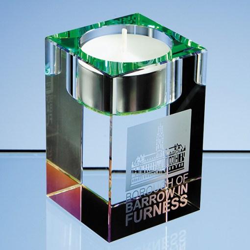 Personalised Engraved Optical Crystal Tealight Candle Holder Scotland UK Custom Customised Gift Gifts Scottish Handmade