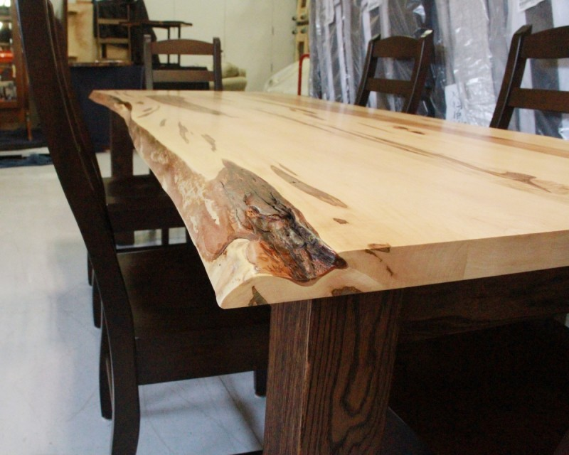 Wormy Maple Live Edge Farm Table Solid Hardwood Furniture Locally Handcrafted Tables