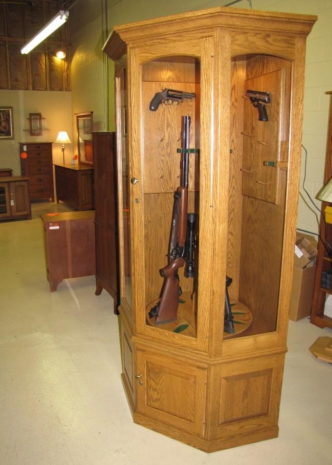 Custom Oak Corner Gun Cabinets Country Lane Furniture