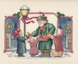 """""""Waiting for Santa"""" Cross stitch done by Mae Trexler-a resident at Country Meadows of Bethlehem"""