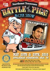 Joe Nichols – No. 1 record; show in Gray, Tenn., on May 29; and a deal with Roper Apparel
