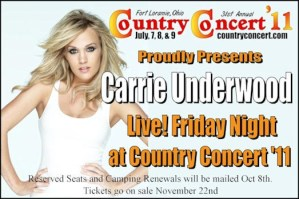 Carrie Underwood will take the stage at Country Concert 2011, at Fort Loramie Ohio, in July