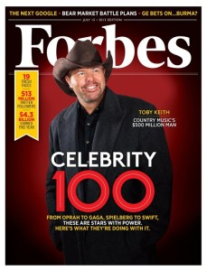 Forbes Magazine puts Toby Keith on top, as country music's wealthiest singer