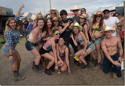 FLORENCE, AZ - APRIL 11:  Singer/Songwriter Chris Janson (center black shirt) with fans during Country Thunder USA - Day 3 on April 11, 2015 in Florence, Arizona.  (Photo by Rick Diamond/Getty Images for Country Thunder USA)