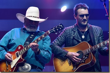 NASHVILLE, TN - AUGUST 12:  Charlie Daniels and Eric Church perform at the Charlie Daniels 2015 Volunteer Jam at Bridgestone Arena on August 12, 2015 in Nashville, Tennessee.  (Photo by John Shearer/Getty Images for Webster Public Relations)