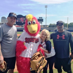Raelynn joins Nashville Sounds for warm-ups in preparation of June 7 City of Hope Celebrity softball Game
