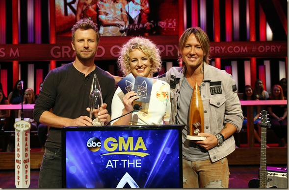 """Dierks Bentley, Cam and Keith Urban announce the 2016 CMA Awards nominees on Wednesday, Aug. 31, 2016 at the Grand Ole Opry House in Nashville during a live televised broadcast on """"Good Morning America"""" on the ABC Television Network."""