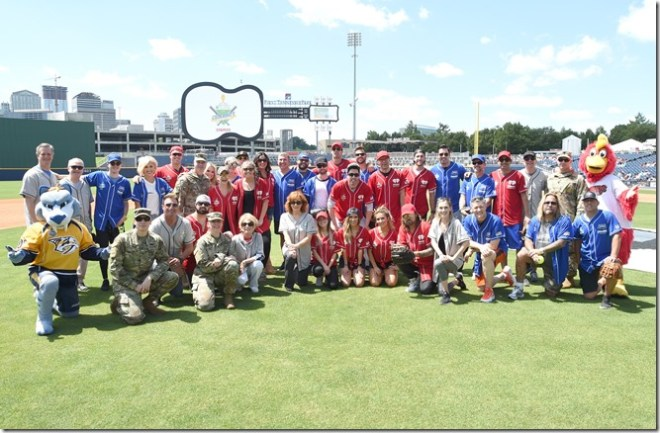 NASHVILLE, TN - JUNE 10:  A group photo of both teams at the 27th Annual City of Hope Celebrity Softball Game at First Tennessee Park on June 10, 2017 in Nashville, Tennessee.  (Photo by Rick Diamond/Getty Images for City Of Hope)