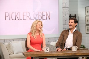 """Executive Producer, Faith Hill, talks from the booth with Kellie Pickler and Ben Aaron as they film their new talk show, """"Pickler & Ben."""""""