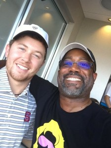 Scotty McCreery and Darius Rucker at the NC State vs. Univ. of South Carolina football game Sept. 2