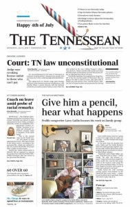 "Front page Tennessean story highlights ""Prolific"" songwriting career of Larry Gatlin"