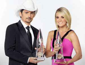 Brad Paisley and Carrie Underwood return to host 52nd annual CMA Awards; and, the nominees are….
