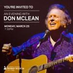 Don McLean announces U.S. & European tour dates along with intimate GRAMMY Museum® program on March 25
