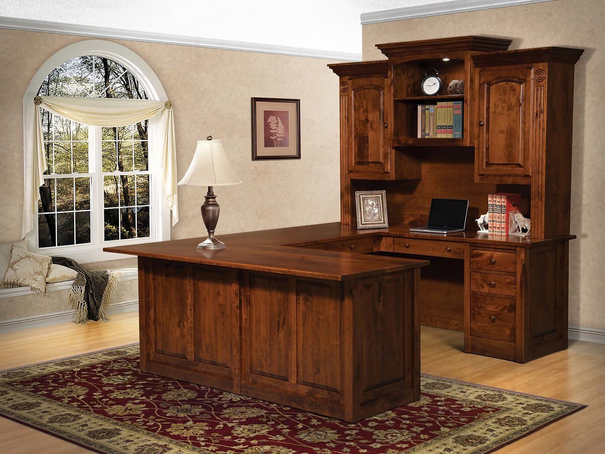 Lorena Solid Wood U Shaped Desk Countryside Amish Furniture