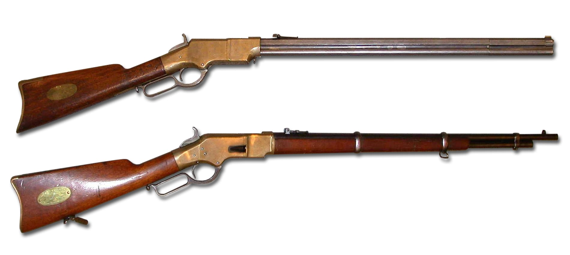 An early Henry Rifle and a Winchester Mod 1866 Rifle, both .44 caliber Rimfire