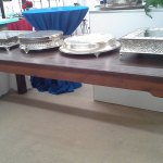dark wood farm table rentals