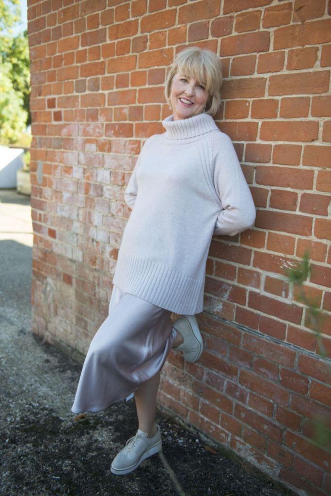a84db59fce Hope Fashion - Bias Cut midi skirt - £120 Cashmere blend Roll neck jumper  Neutral
