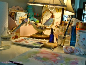 my desk & watercolor painting