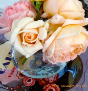 roses on table