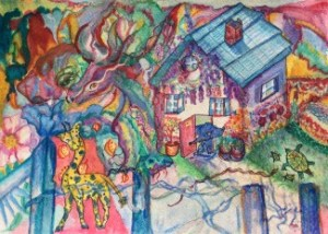 Animal House watercolor painting