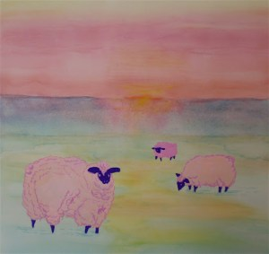 sheep fat and fluffy and pink-watercolor painting