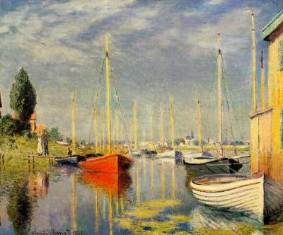 monet-red boats in argenteuil