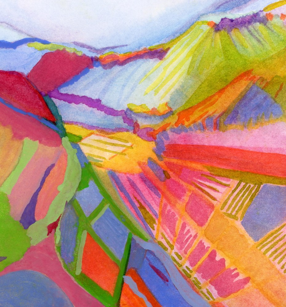 Abstract Vineyard Landscape gouache painting by l.a.scott