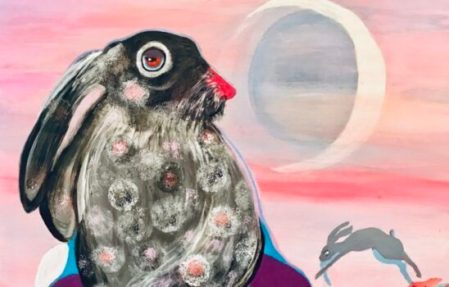 Rabbit Jumps over the Moon Painting on canvas