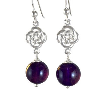Celtic Infinity Knot Sterling Earrings with Amethyst