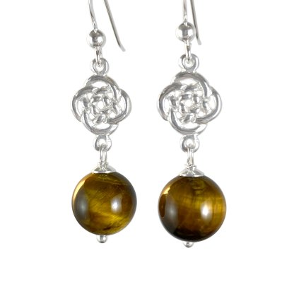 Celtic Infinity Knot Sterling Earrings with Tiger Eye