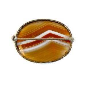 Oval Banded Agate Victorian Brooch