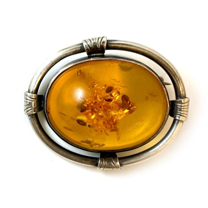 Deco Oval Amber Sterling Brooch
