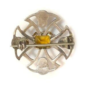 Sterling Celtic Cross Citrine Kilt Pin