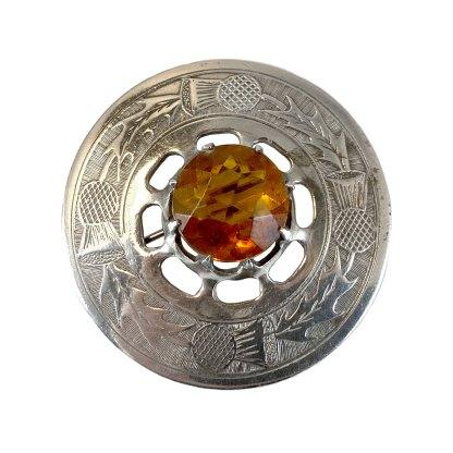 Round Thistle Silver Kilt Pin