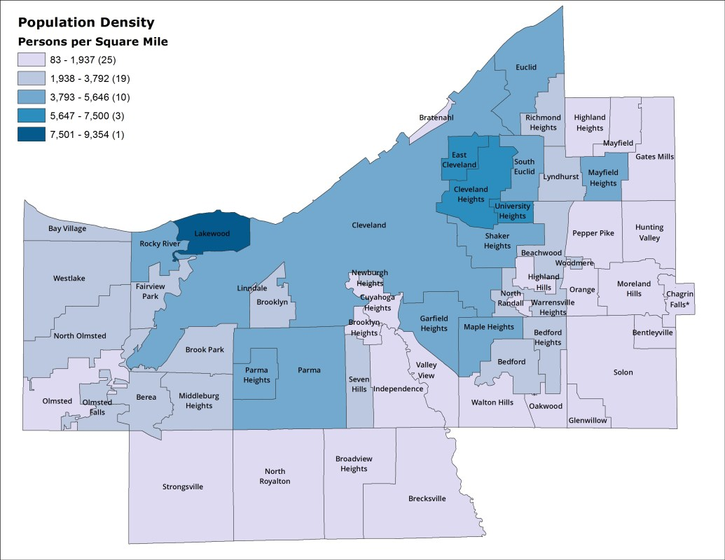 Cuyahoga County population density, 2010