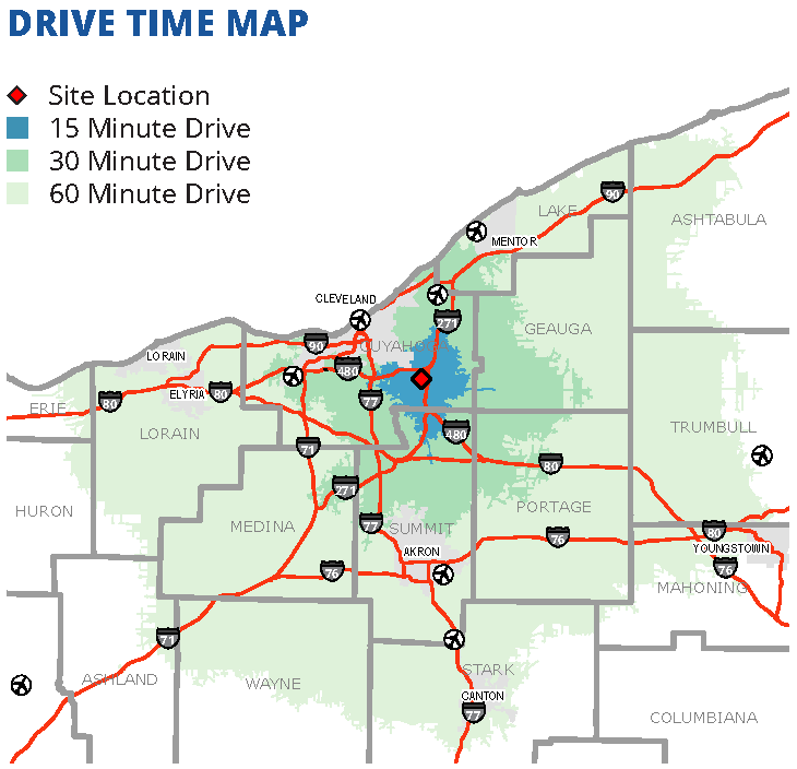 Meadowbrook drive time map – Cuyahoga County Planning Commission on drive time charlotte nc, per capita gdp map, drive time tucson az,
